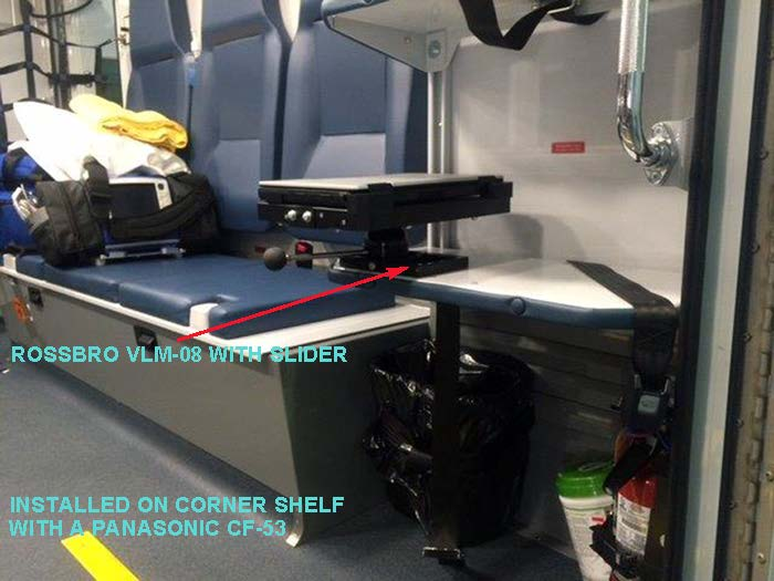 VLM-08 Vehicle Computer Mount in Ambulance, rear install - Rossbro - Québec, Canada