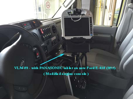VLM-08 Vehicle Computer Mount in Ambulance, installed on engine console - Rossbro - Québec, Canada