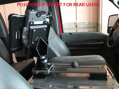 VLM-08 Vehicle Computer Mount in Firetruck, rail rear view first reponse - Rossbro - Québec, Canada