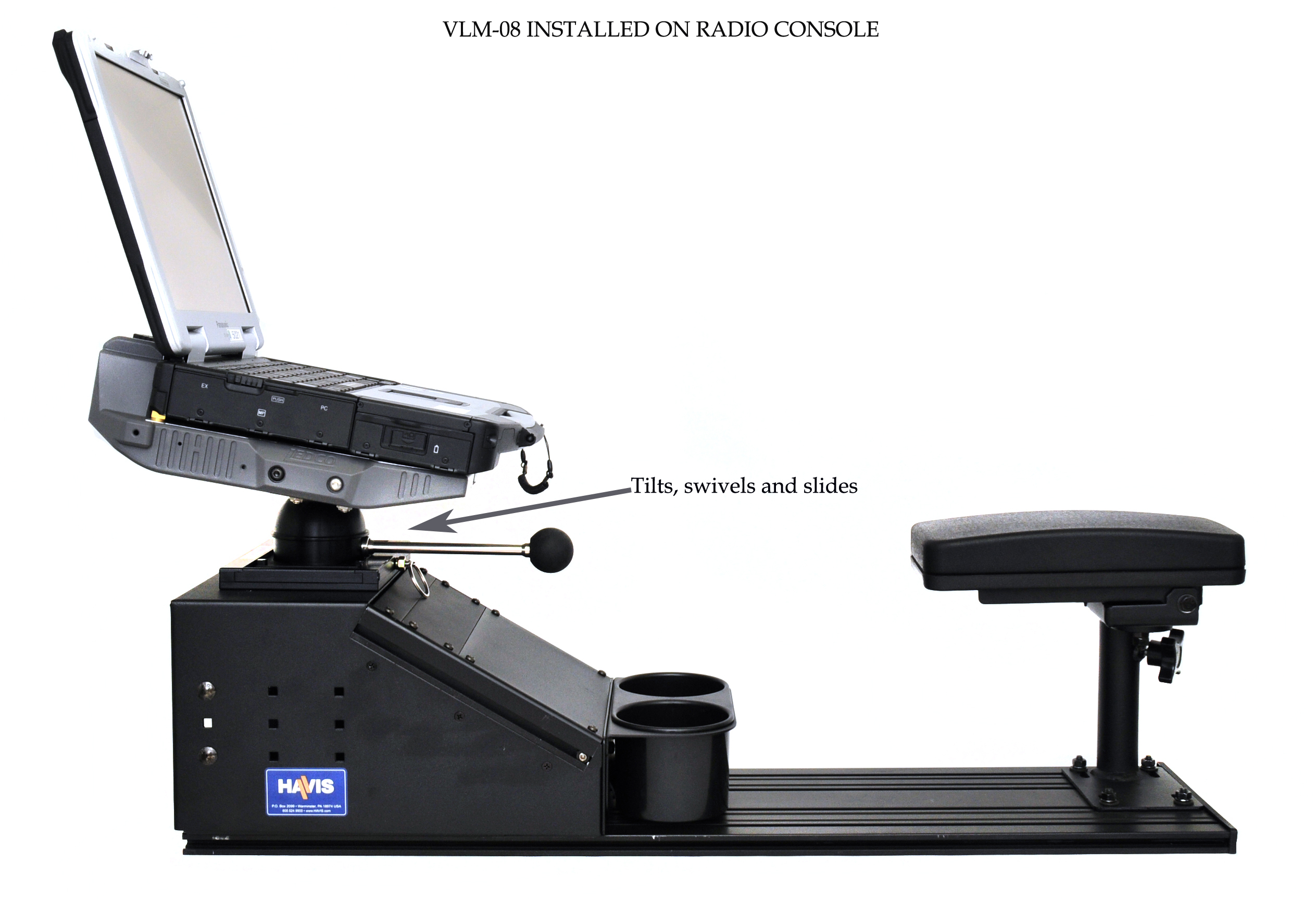 VLM-08 Vehicle Computer Mount in Police, installed on havis console - Rossbro - Québec, Canada